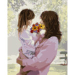 DIY Mother Daughter Painting By Numbers Kit Canvas Oil Art Picture Craft