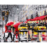 DIY Lively Street Painting By Numbers Kit Canvas Oil Art Picture Home Decor