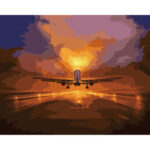 Painting By Numbers Kit DIY Airplane Hand Painted Canvas Oil Art Picture