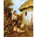Painting By Numbers Kit DIY Peasant Woman Canvas Oil Art Picture Home Decor