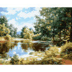 Painting By Numbers Kit DIY Lake Hand Painted Canvas Oil Art Picture Craft