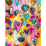 Painting By Numbers Kit DIY Love Heart Hand Painted Canvas Oil Art Picture