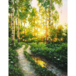 Painting By Numbers Kit DIY Forest Hand Painted Canvas Oil Wall Art Picture