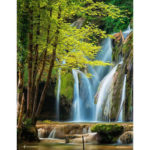 Painting By Numbers Kit DIY Forest Waterfall Canvas Oil Wall Art Picture