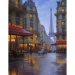 Painting By Numbers Kit DIY Street Tower Canvas Oil Art Picture Home Decor