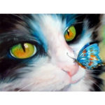 Painting By Numbers Kit DIY Butterfly Cat Canvas Oil Art Picture Home Decor