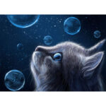 Painting By Numbers Kit DIY Bubble Cat Hand Painted Canvas Oil Art Picture