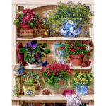 Painting By Numbers Kit DIY Flower Rack Hand Painted Canvas Oil Art Picture