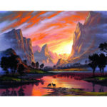 Painting By Numbers Kit DIY Mountain Sunset Canvas Oil Art Picture Craft