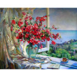 Painting By Numbers Kit DIY Flower Scenery Canvas Oil Art Picture Craft