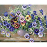 Painting By Numbers Kit DIY Flowers Canvas Oil Picture Home Wall Artwork