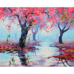 Painting By Numbers Kit DIY Red Trees Canvas Oil Picture Home Wall Artwork