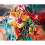 Painting By Numbers Kit DIY Colorful Flowers Canvas Oil Art Picture Craft