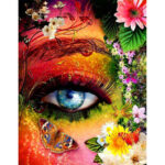 Painting By Numbers Kit DIY Flowers Eye Hand Painted Canvas Oil Art Picture