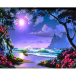 Painting By Numbers Kit DIY Bright Moon Hand Painted Canvas Oil Art Picture