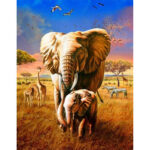 Painting By Numbers Kit DIY Animals Elephant Canvas Oil Art Picture Craft