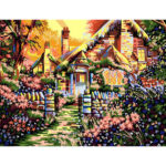 Frameless Painting By Numbers DIY House Hand Painted Canvas Oil Art Picture