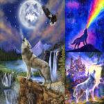 5D DIY Full Drill Diamond Painting Novelty Wolf Cross Stitch Mosaic (B454)