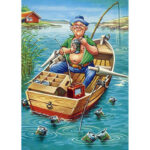5D DIY Full Drill Diamond Painting Fishing Man Cross Stitch Embroidery Kit