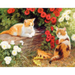 DIY Flower Cats Oil Painting By Numbers Kit Canvas Digital Wall Art Picture