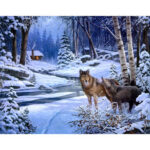 Snow Forest Wolf DIY Painting By Numbers Kit Canvas Oil Wall Art Home Decor