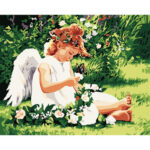 DIY Oil Painting By Number Picture Drawing Canvas Angel Girl Craft Decor