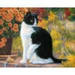 DIY Painting By Numbers Kits Black Cat Canvas Painting Prints Wall Artwork