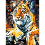 Hand Painted Artwork DIY Tigers Painting By Numbers Oil Picture (WH-la34)