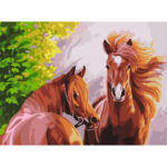 Hand Painted Frameless DIY Relaxing Horse Painting By Numbers Kit Artwork