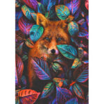 5D DIY Diamond Painting Leaves Fox Full Round Drill Animal Picture Mosaic