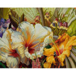Hand Painted Artwork Frameless DIY Warm Flower Painting By Numbers Kit