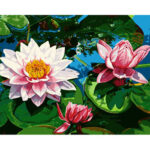 Hand Painted Artwork Frameless DIY Lotus Painting By Numbers Kit Wall Decor