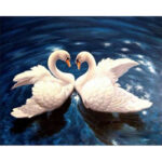 Hand Painted Frameless DIY Love Swan Painting By Numbers Art Picture Craft