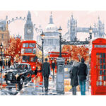 Hand Painted Artwork Frameless DIY London Street Painting By Numbers Kit