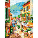 Hand Painted Frameless DIY Sunny Street Painting By Numbers Oil Art Picture