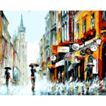 Hand Painted Artwork Frameless DIY Raining Street Painting By Numbers Kit