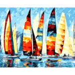 DIY Digital Oil Painting By Numbers Sailing Boat Canvas Frameless Picture