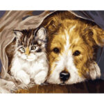 DIY Digital Oil Painting By Numbers Staying Dog Cat Acrylic Animal Picture