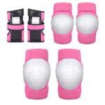 Skateboard Protective Gear Set Ice Roller Skating Knee Elbow Pads (Pink L)