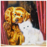 5D DIY Full Drill Diamond Painting Daze Dog Cat Cross Stitch Embroidery Set