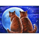 5D DIY Diamond Painting Cats Admire the Moon Full Drill Animal Cross Stitch