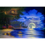 5D DIY Diamond Painting Bright Moon at Sea Full Drill Landscape Embroidery