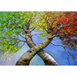 5D DIY Diamond Painting Twin Trees Full Drill Home Embroidery Cross Stitch