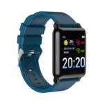 F54 Smart Watch Body Temperature Heart Rate Monitor IP67 (Blue Silicone)