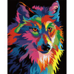 Painting By Numbers Frameless DIY Color Wolf Hand Painted Oil Art Picture