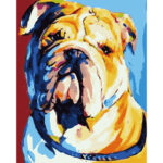Hand Painted Oil Art Picture Frameless DIY Tired Dog Painting By Numbers
