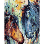 Hand Painted Frameless DIY Toilsome Horse Painting By Numbers Picture Craft