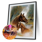 5D DIY Round Drill Diamond Painting Horses Cross Stitch Embroidery Mosaic