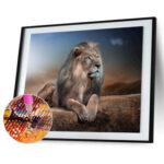 5D DIY Round Drill Diamond Painting Lion Cross Stitch Embroidery Mosaic Kit