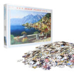 70 X 50cm 1000 Pieces Paper Jigsaw Puzzles Seaside Town Assembling Picture